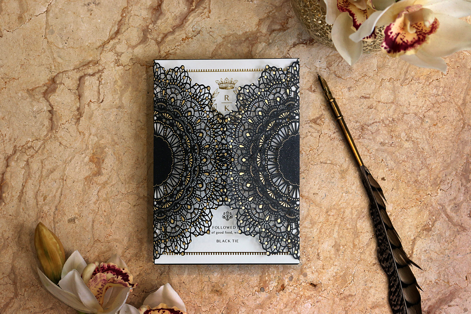 Black Doily Style Lasercutting invite